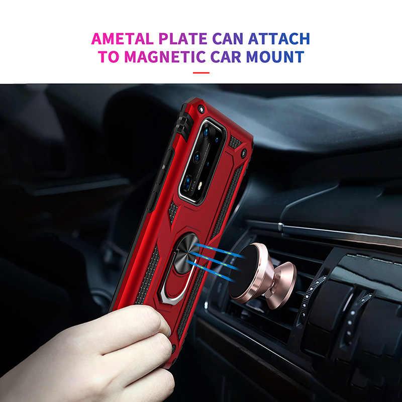 Armor Lembut Tahan Guncangan Case untuk Huawei Kehormatan 20 10 9X Y9S P40 P30 P20 Mate 30 20 Lite Pro Mobil cincin Berdiri Pemegang Case Pelindung