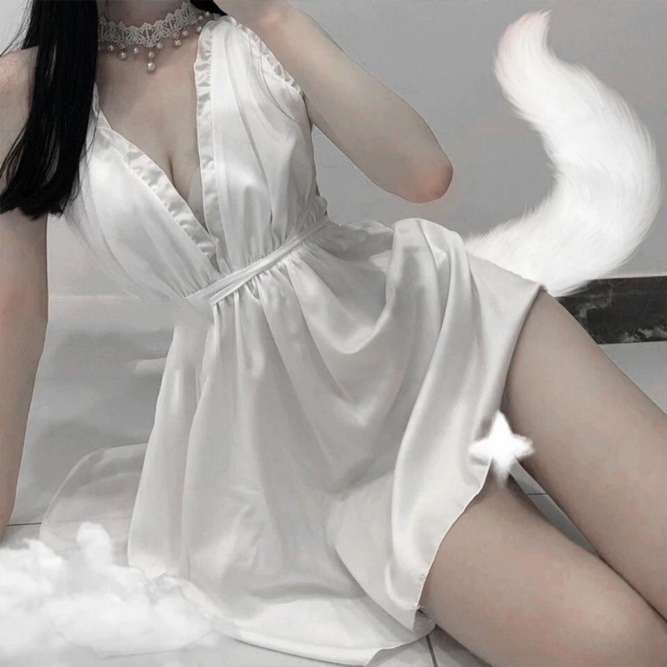 Sexy Backless Lace Sleeping Dress Women Night Gown Girl Halter Nightdress Stretch Sleepwear Faux Silk Nightgowns Satin Sleepwear