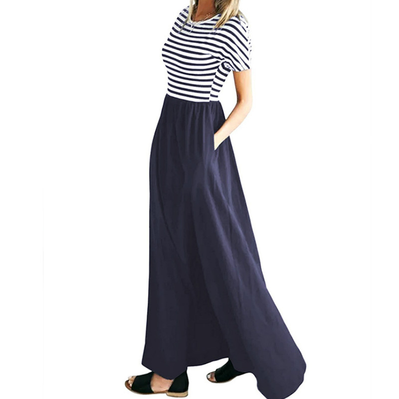 Summer Striped Dress Robe Mujer Short Sleeve O-Neck Long Maxi Dress Plus Size Beach Loose Casual Women Dresses Pockets XXL GV577