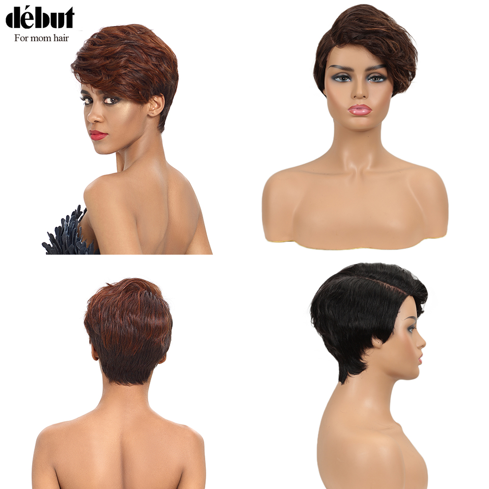 Debut Lace Short Real Human Hair Wigs 100% Remy Peruvian Hair Wigs Ocean Wave U Part Lace Red Wigs For Mom Hair Free Shipping
