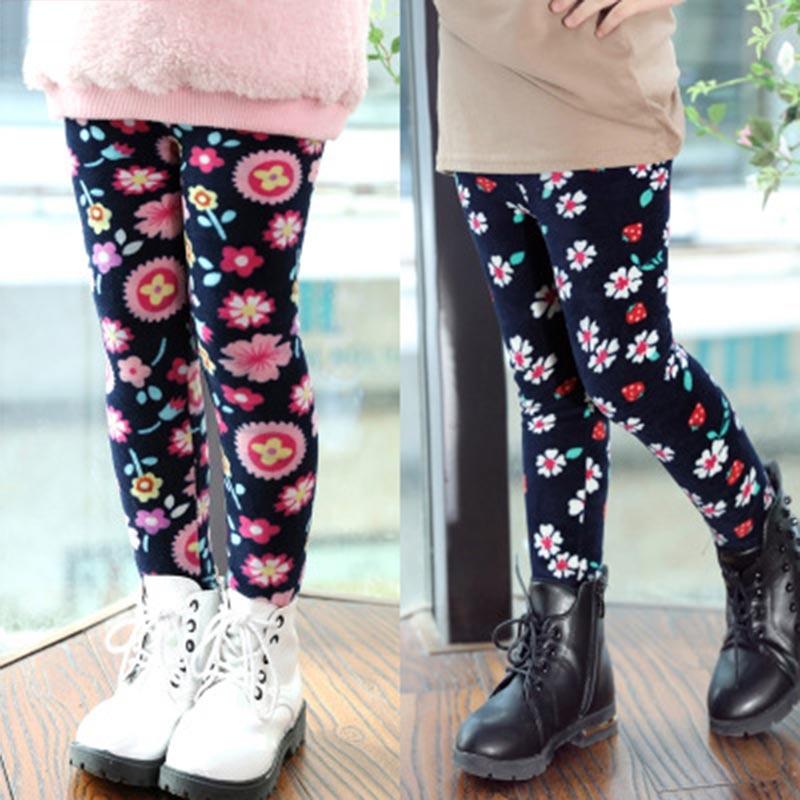 Multiple Style Baby Girls Winter Leggings Girl Thick Warming Dot Long Pants Kids Leopard Plus Velvet Printing Fashion Bottoming