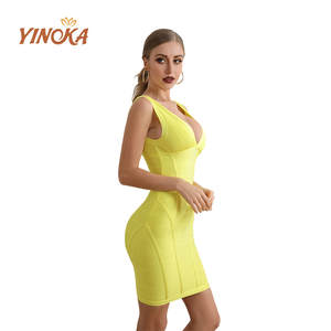 Yinoka 2020 bandage dresses bodycon vestidos v neck yellow red pink party midi sex night clubwear celebrity evening luxury dress