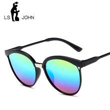 LS JOHN 2019 Brand Designer Cateye Sunglasses Women Vintage Metal Glass