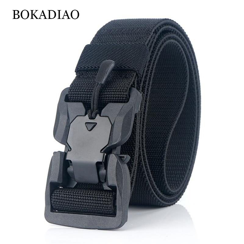 BOKADIAO Military Army Combat Man's Canvas Belt Quick Release Tactical Belts For Men Nylon Outdoor Training Waistband Male Strap