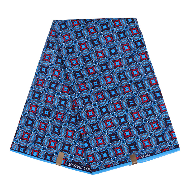 6 Yards Blue Geometric Patterns Ankara African Polyester Wax Prints Fabric High Quality Breathable Ankara African Wax Fabric
