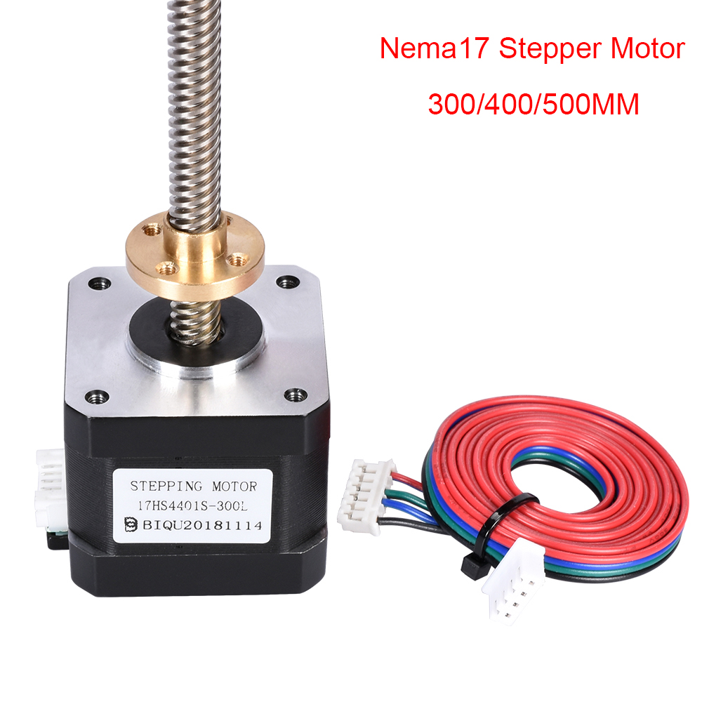 BIQU Nema 17 Stepper Motor 42 Motor 17HS4401S-T8x8-300 400 500mm with T8 Screw 3d Printer Parts Copper Nut Lead
