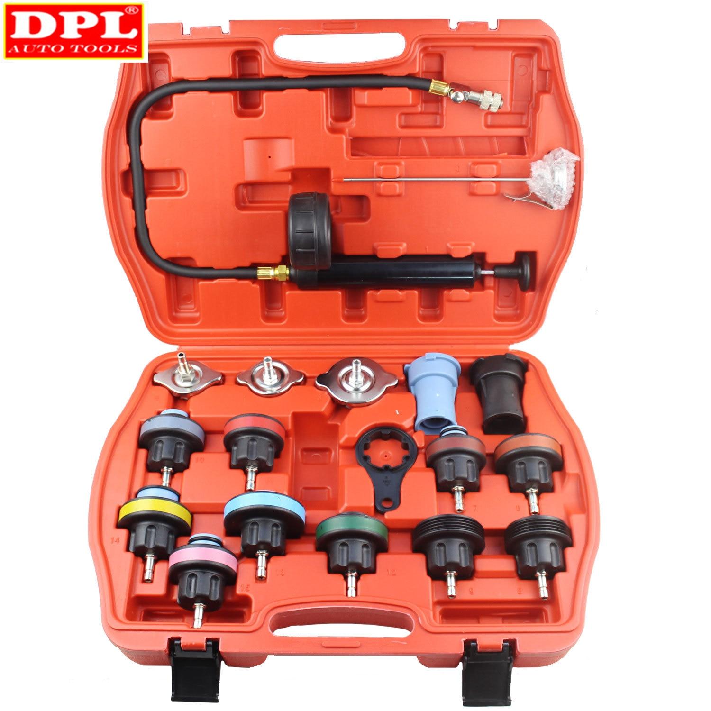 18 Pcs Radiator Pressure Tester Tool Kit Cooling System Testing Tool Vacuum Vehicle Universal For Volkswage Audi BMW Ford Volvo