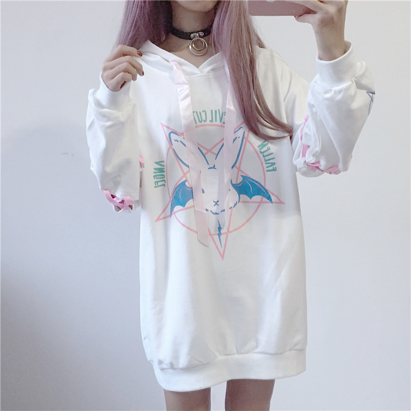 Hoodies Gothic Pullover Velvet Streetwear Punk Harajuku-Print Fleeces Girl Women Lace-Up