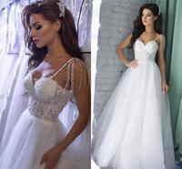 YiMinpwp White Wedding Dresses 2020 Spaghetti Backless Beading Lace Sexy Bridal Gowns свадебные платья vestidos de novia