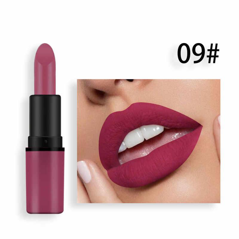 12 צבע מט שפתון שעועית להדביק קטיפה צבע סקסי אדום ללא דהייה קיימא שאינו מקל כוסות טבעי עירום צבע שפתון קוסמטיקה