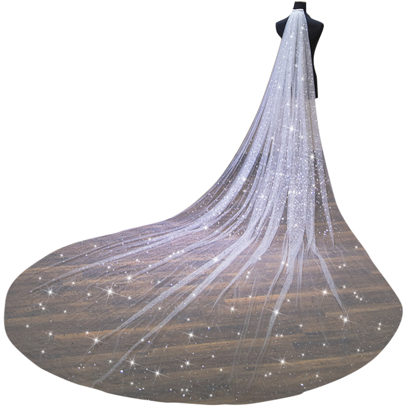 Shiny Long Bridal Veils 2020 With Comb One Layer Sequins Sparkly Wedding Veils Cheap Wedding Accessories Voile Mariage
