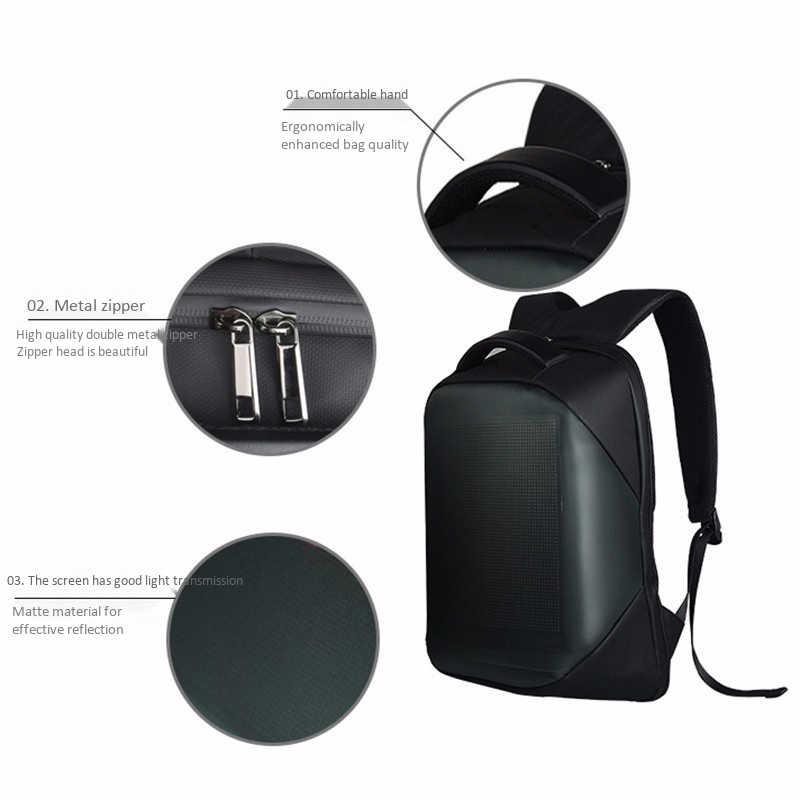 Dc 5V Led dynamiczny wyświetlacz Wifi plecak na laptopa Notebook kontroli 22L torba szkolna wodoodporna Led plecak torba dla reklamy