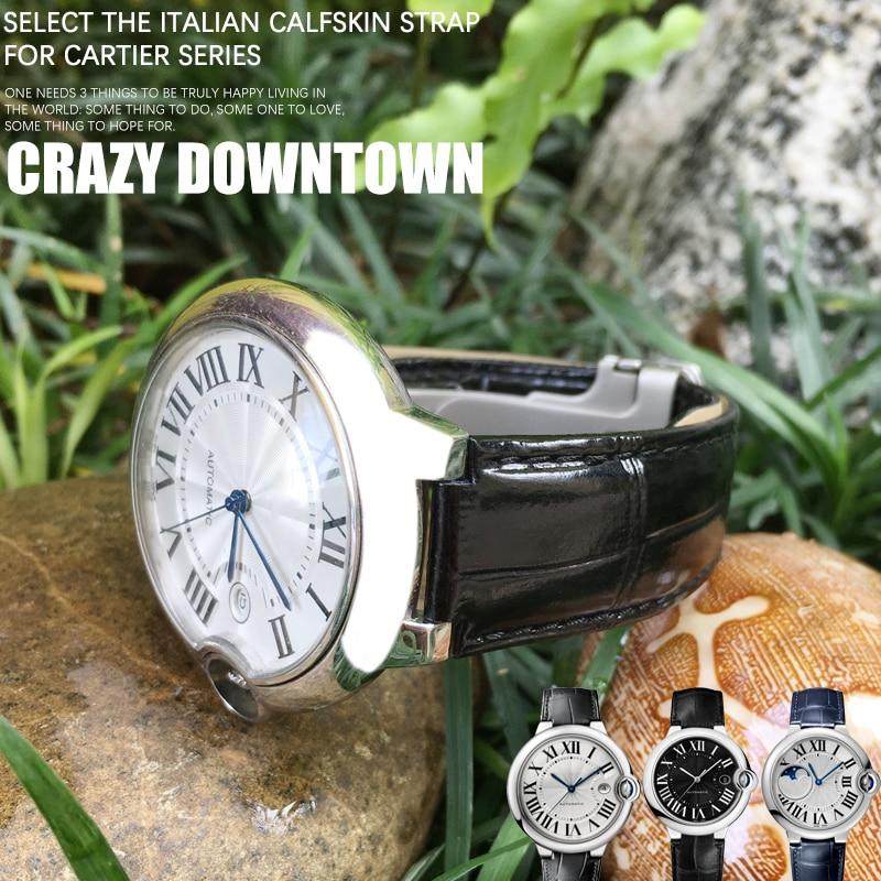 Bracelet de montre en cuir de vache, adapté à Ballon Bleu de Cartier, bracelet de montre, de Type convexe, de 14/16/18/20/22mm, de haute qualité