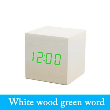LED Wooden Alarm Clock Watch Table Voice Control Electronic Desktop USB/AAA Powered Clocks Table Decoration Desk Tools image