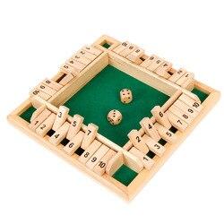 Luxo quatro lados 10 números fechado a caixa de madeira tabuleiro jogo conjunto dice festa clube bebendo flips quebra-cabeça jogos para adultos famílias