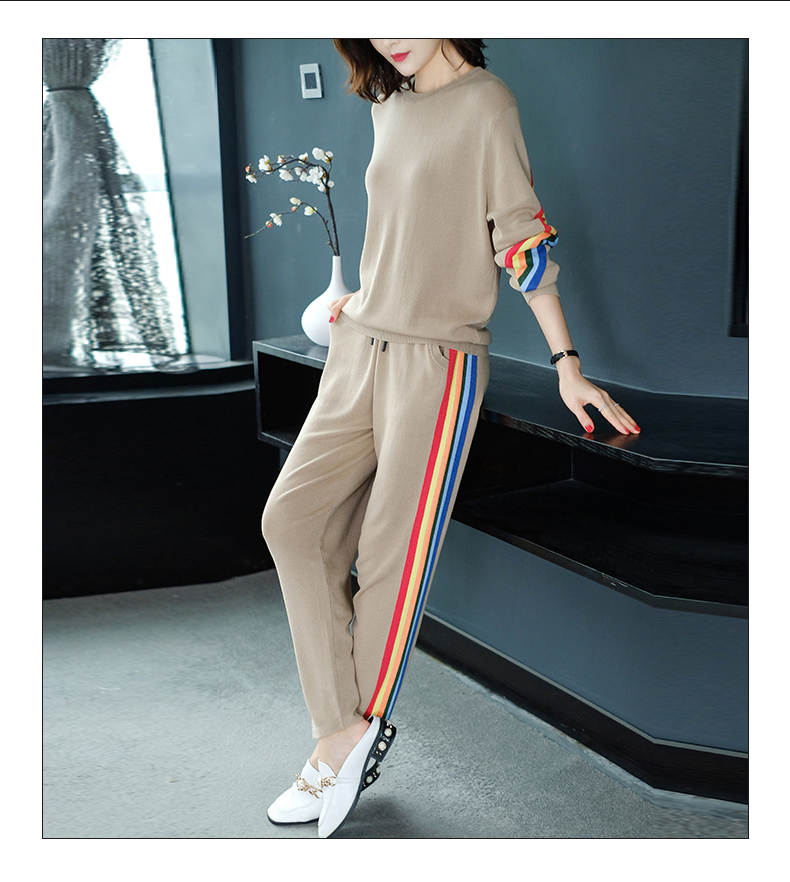 2019 Autumn Knitted Casual Striped Two Piece Sets Outfits Women Sweater And Pants Suits Fashion Elegant Korean Tracksuit Sets 58