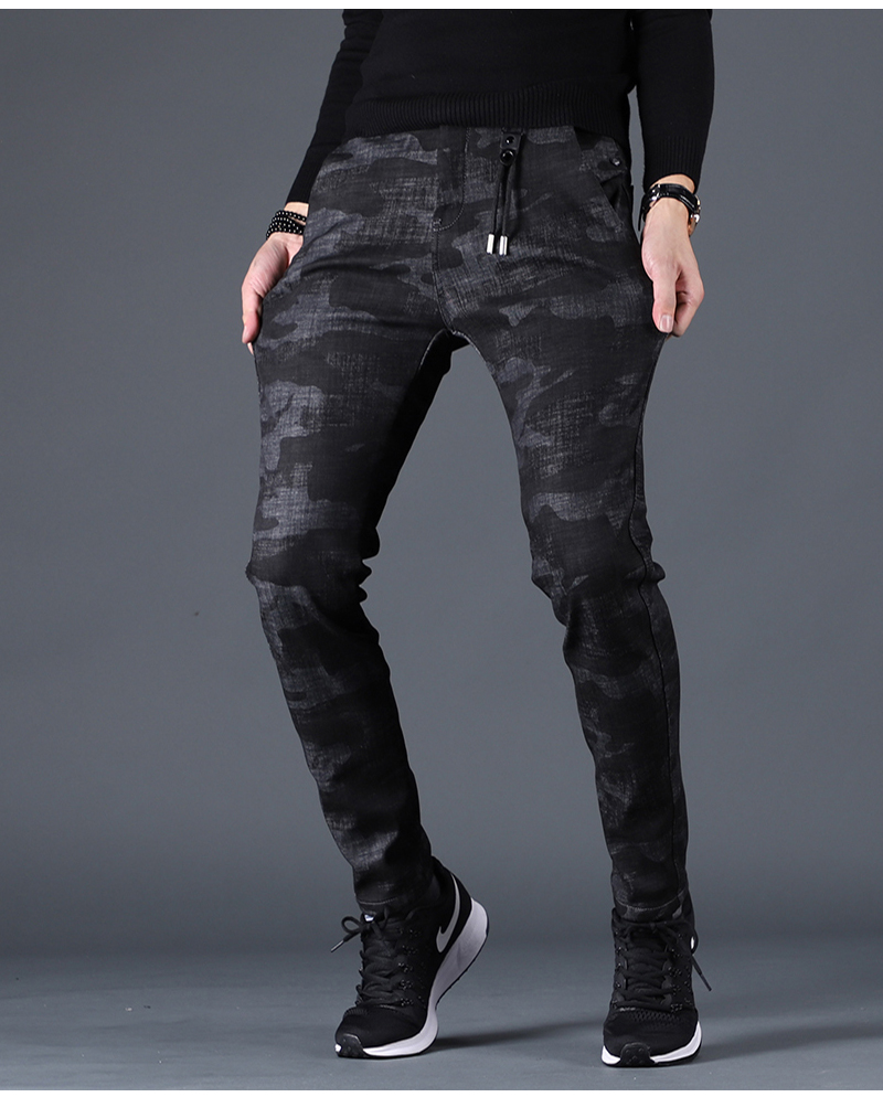 Free shipping new fashion men's male casual Original camouflage jeans men plus velvet autumn stitching pants Slim Korean C3129 92