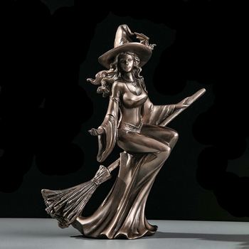 MGT  Nordic Rtro Modern Minimalist Personality Witch Statue Craft Hoom Accessories Desk Kids Room Decor Fairy Garden Sculpture
