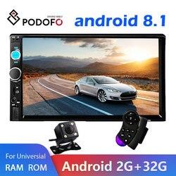 Podofo 2 din Android 8,1 coche Multimedia reproductor de radio Estéreo 7 Video MP5 jugador GPS Bluetooth para Volkswagen Nissan Hyundai Kia