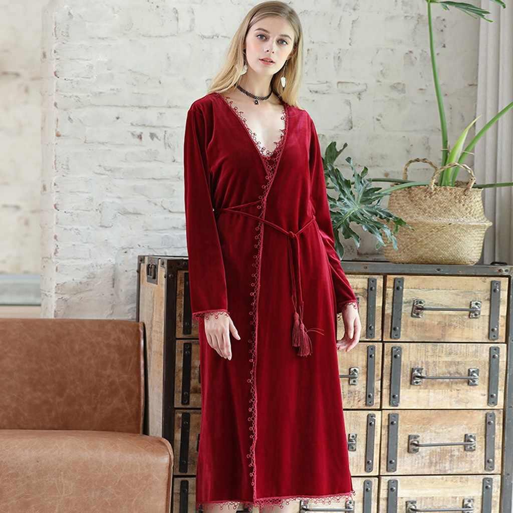 女性ナイトウェアベルベット暖かい冬パジャマローブ浴衣ウェディングブライダルベルトで女性のセクシーなローブパジャマナイトウェア 9.2
