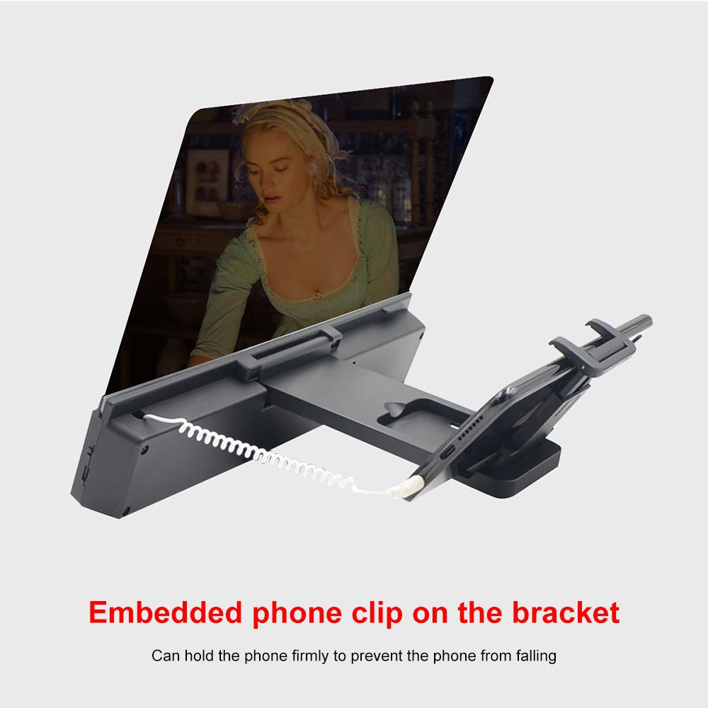 12inch Phone Screen Magnifier Smartphone Movie Amplifier Video Enlarger Magnifying Glass 3D Visual Enjoyment with Foldable Stand 6