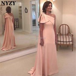 Жемчужно-розовые платья жениха для матери невесты NYZY M235 сатиновое платье на одно плечо с большим бантом, официальное вечернее платье
