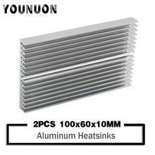 2PCS YOUNUON  100x60x10mm Aluminum Heat Sink Cooler Radiator for Computer Cooling Accessories IC LED