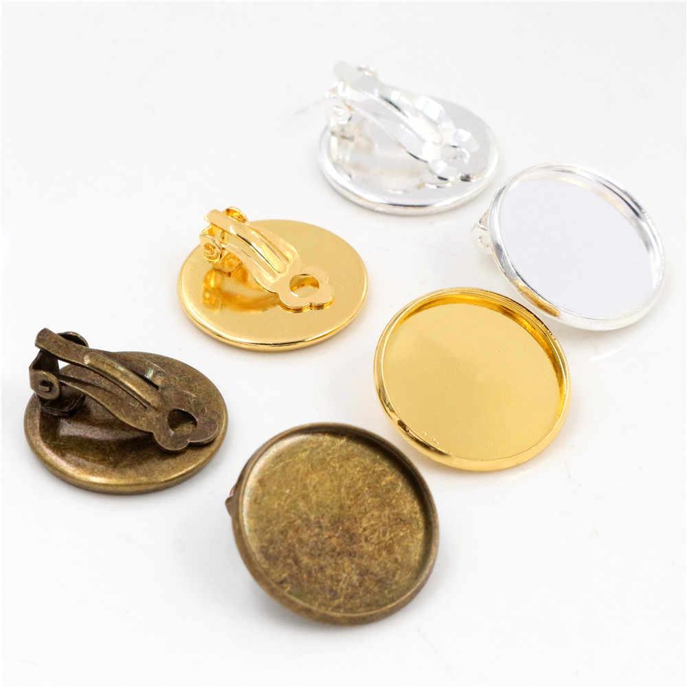 10mm 12mm 14-20mm 10 יח'\חבילה נחושת אוזן קליפים 8 צבעים מצופה, עגילים ריקים/בסיס, Fit 10-20mm זכוכית Cabochons, הגדרת עגיל