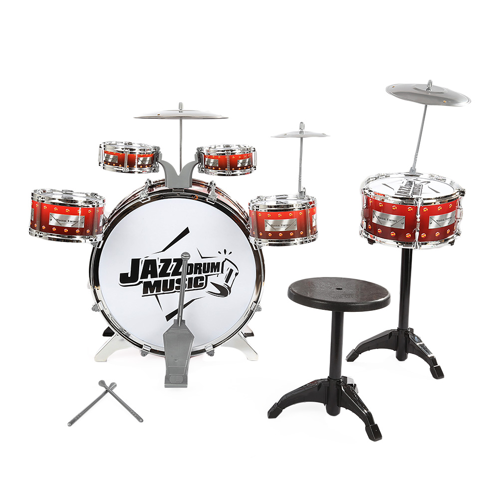 Children Drum Musical Toy Instruments with Cymbals Stool Play Game Music Interest Development For Kids Christmas Birthday Gift