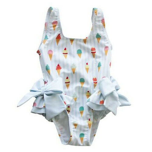 1-5Years Baby Kids Girls Swimsuit One Piece Summer Bow Icecream Bikini Bathing Suit Beach Bodysuit Swimwear Toddler  Kids Wear