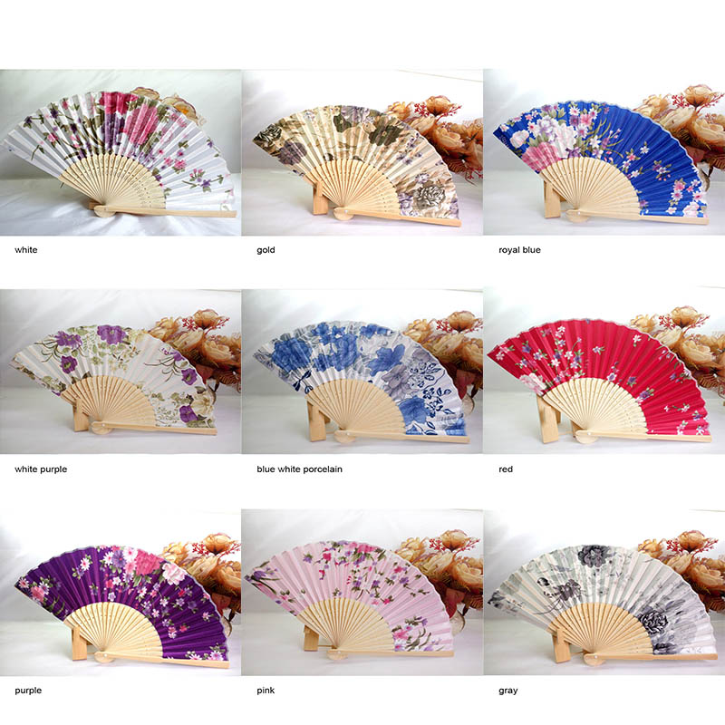 Chinese Bamboo Fans Festival Decor Folding Hand Fan Flowers Floral Decorative Fans Classical Antique Summer Girl Wedding Supply
