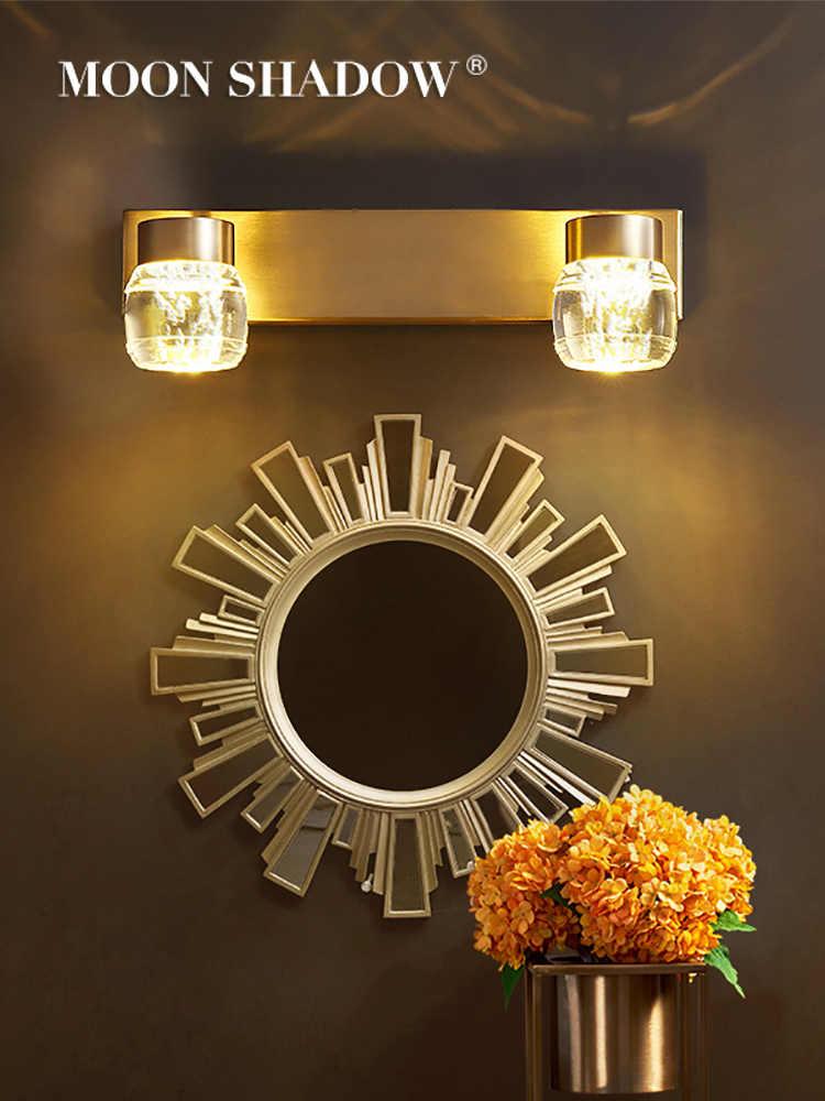 MOONSHADOW Wand licht Voller Kupfer Führte Spiegel licht Einstellbar Für Home wohnzimmer Dekoration Nacht lampe Innen Beleuchtung 220V