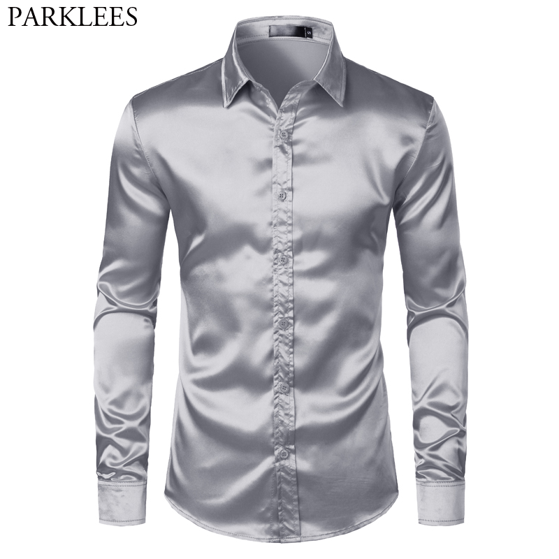 Men's Satin Luxury Dress Shirts Slim Fit Silk Casual Dance Party Shirt For Men Long Sleeve Wrinkle Free Tuxedo Shirt Male Sliver