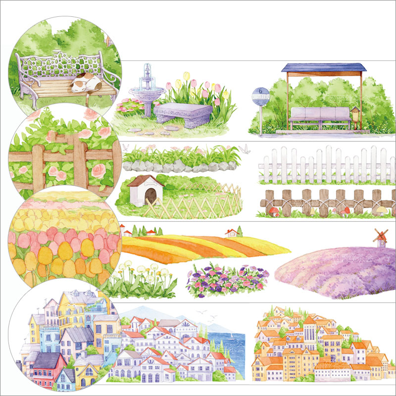 WOKO Garden Leisure View Series Cute Washi Tape Fresh Flower Chair/Small Town/Grass Fence Masking Tape DIY Journal Scrapbooking image