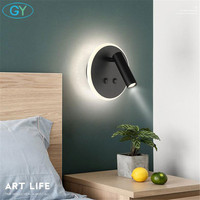 Double switch LED Wall Lamp For Bedroom Round Reading Wall Sconce Applique murale luminaire Modern Office led art Lighting