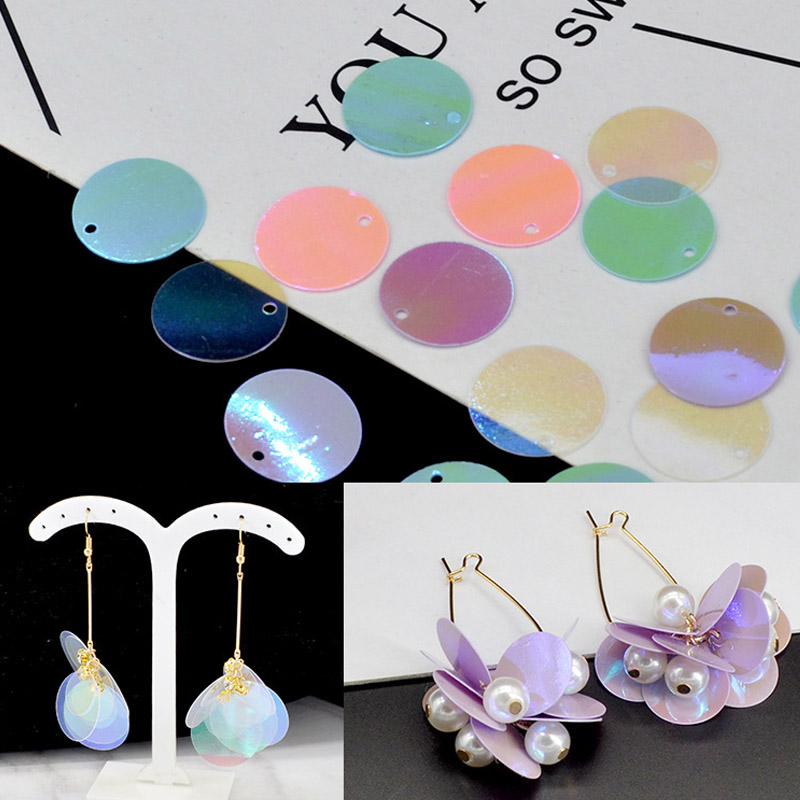 Transparent Pink Blue Flat Loose Sequin DIY Handmade Paillette Sewing Laser Sequins Wedding Cloth Material Mermaid Earring