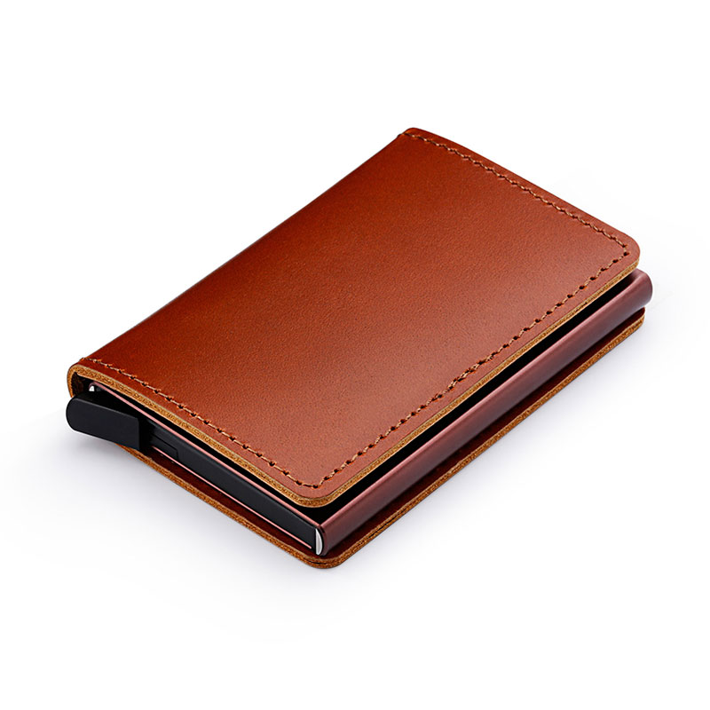 Blocking 100 Genuine Leather Credit Card Holder Aluminum Metal Business ID Cardholder Slim Card Case Mini Wallet for Men in Card ID Holders from Luggage Bags
