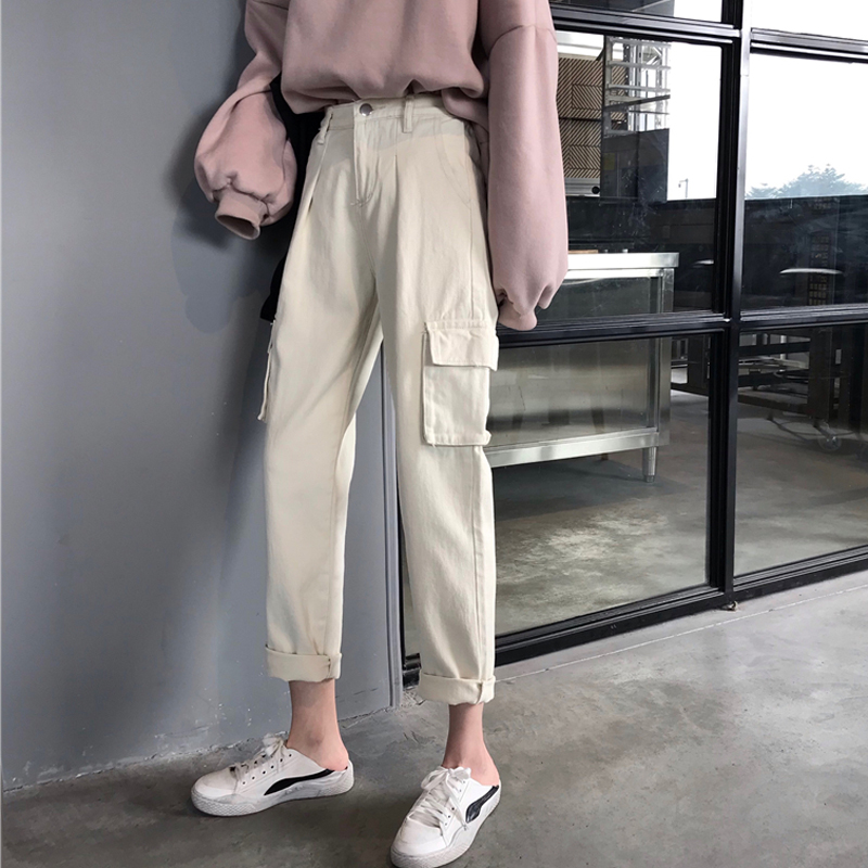 Boyfriend Jeans For Women New Summer Korean Version High Waist Pants Loose Cargo Wide Leg Casual Jeans Women's Trousers
