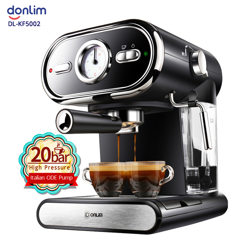 20BAR Coffee Machine Maker Espresso Cups Semi Automatic Household Steam Milk Frother Visualization Double Temperature Control