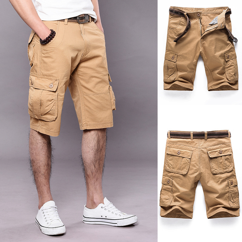 Summer Men Solid Color Workwear Shorts Men's Outdoor Cargo Shorts Casual Loose-Fit Men'S Wear Fashion