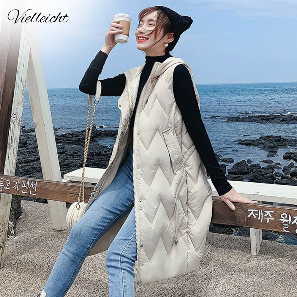 Vielleicht Winter Women Vest Casual Long Hooded Waistcoat Zipper Pocket Thicken Warm Sleeveless Sintepon Parka Vest For Female