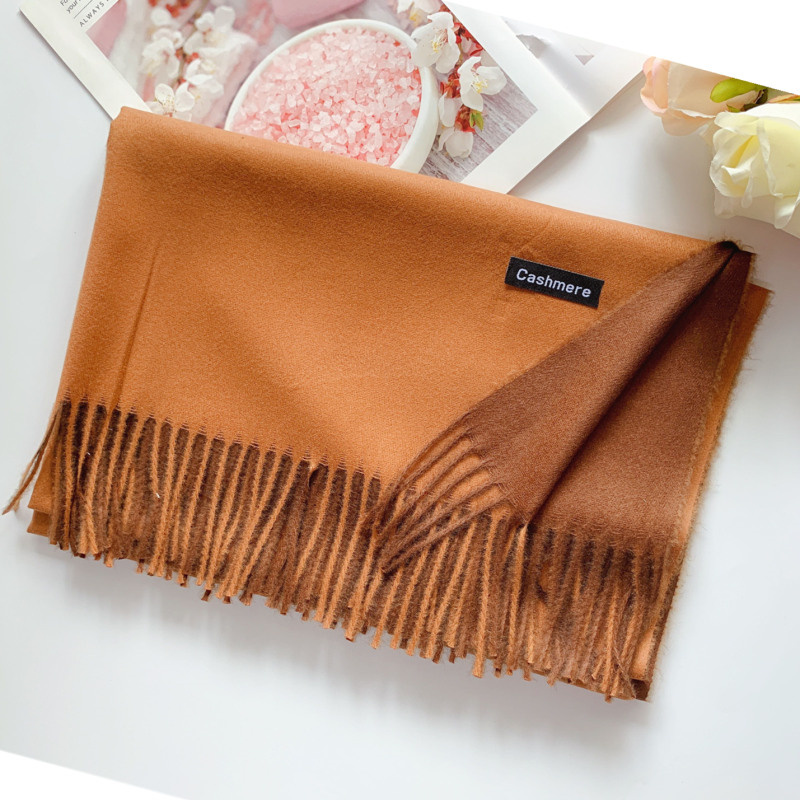 2019 Free Shipping 250G Women Cashmere Thick UNISEX Solid Scarf Pashmina Shawl Wrap Female Hijab Stoles Tassel Long Head Scarves