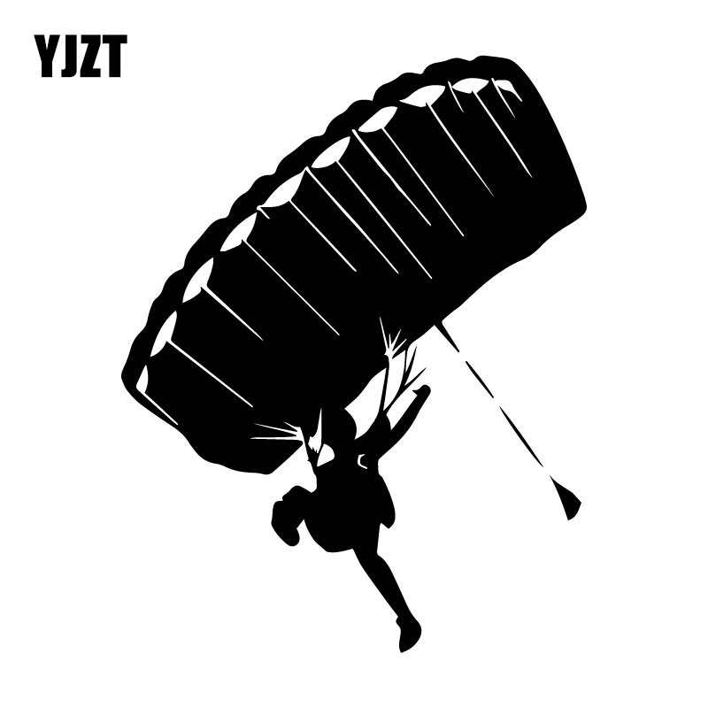 YJZT 13CM*16.7CM Skydiving Parachute Stickers Decals Vinyl Black/Silver C31-0333