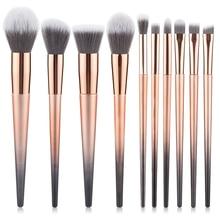 цена на Makeup Brushes Set Professional 10Pcs Foundation Powder Blush Eyeshadow Brush Set  Blush Blending Brush Comestic Tool