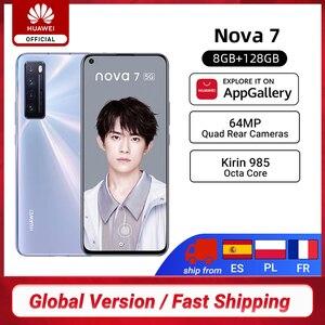 Глобальная версия Huawei Nova 7 5G смартфон Kirin 985 8 Гб 128 ГБ 64MP Quad Rear Cams 32MP фронтальная камера 6,53 ''OLED 40W SuperCharge