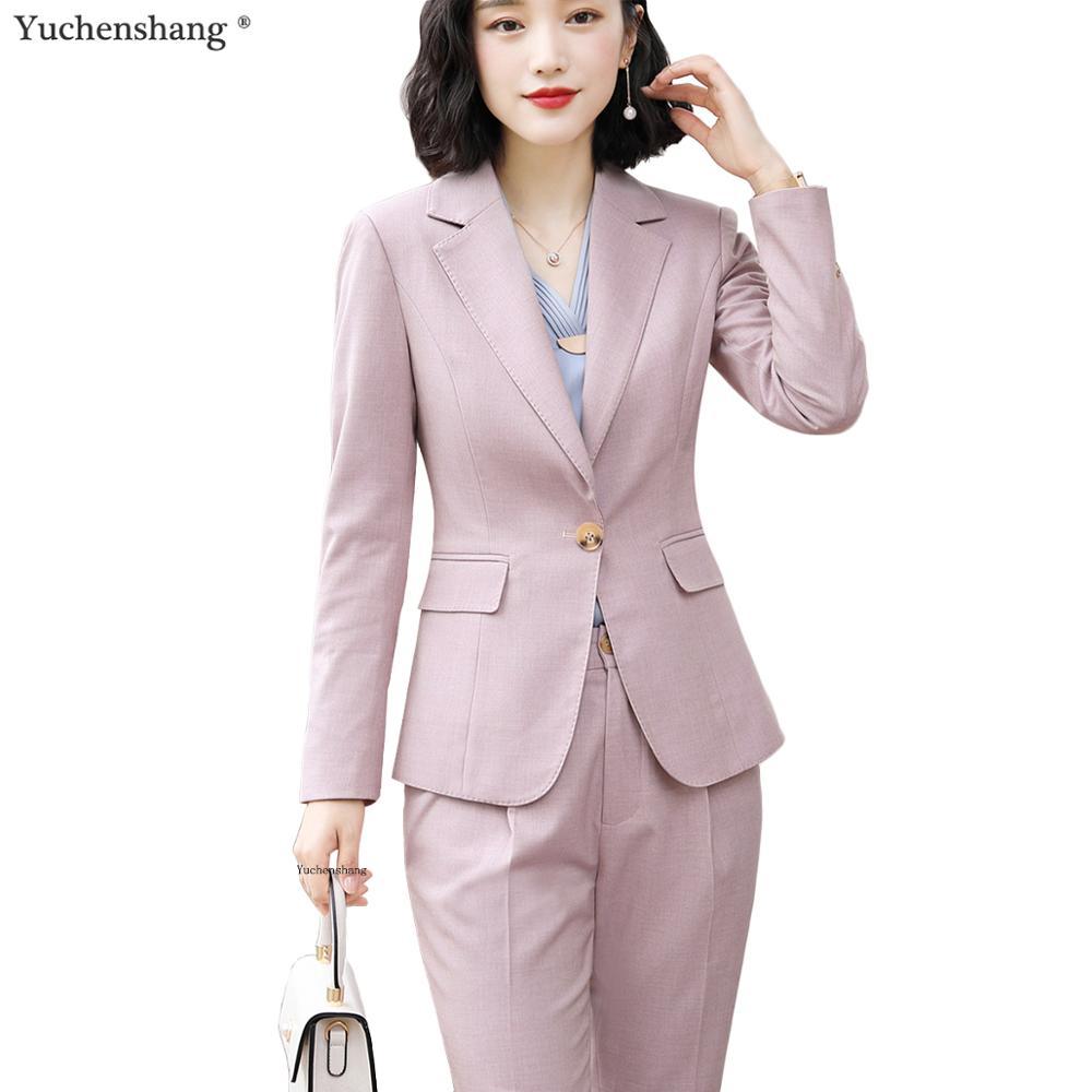 Women Pink Blue Black Work Business Wear Pant Suit For Office Lady Blazer Set Suit 2 Piece Sets Blazers Jackets And Pant