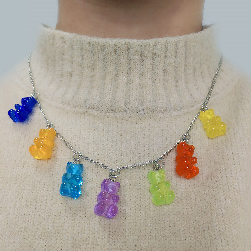 Handmade 12 Colors Cute Judy Cartoon Bear Chain Necklaces, Candy Color Pendant For Women&Girl Daily Jewelry Party Gifts