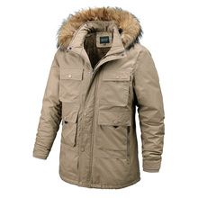 Winter Jacket Cotton-Coats Multiple-Pockets Warm Thick Men New Casual for Hat Detachable