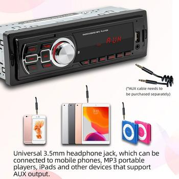 Car Radio 1din Autoradio Aux Input Receiver Bluetooth Stereo Radio MP3 Multimedia Player Support FM/MP3/WMA/USB/SD Card image