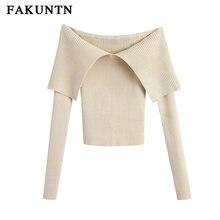 Женский вязаный сексуальный свитер fakuntn пуловер сезона осень